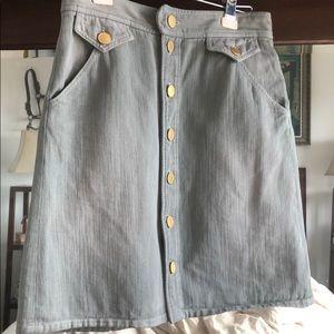 ISABEL MARANT Knee Denim Sage Gold Button Skirt